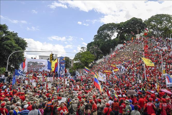トランプ政権の制裁に反発 ベネズエラで抗議集会 - ảnh 1