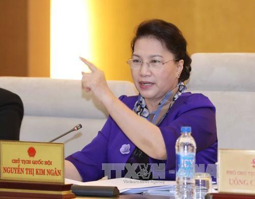 越南第14届国会常委会举行首次质询活动 - ảnh 1