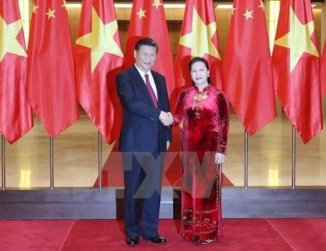 越南国会主席阮氏金银会见中共中央总书记国家主席习近平 - ảnh 1