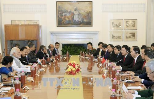 越南国家主席陈大光与印度总理莫迪举行会谈 - ảnh 1