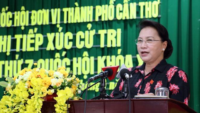 越南国会主席阮氏金银接触芹苴市选民 - ảnh 1