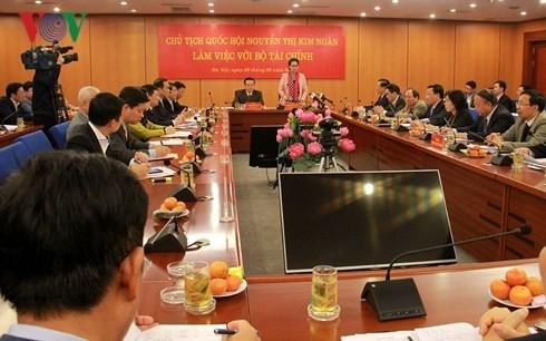 Parlamentspräsidentin Nguyen Thi Kim Ngan tagt mit Finanzministerium - ảnh 1