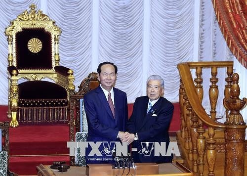 Staatspräsident Tran Dai Quang trifft den Chef des japanischen Unterhauses Tadamori Oshima - ảnh 1