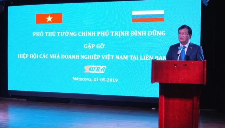 Vizepremierminister Trinh Dinh Dung trifft vietnamesische Unternehmen in Russland - ảnh 1