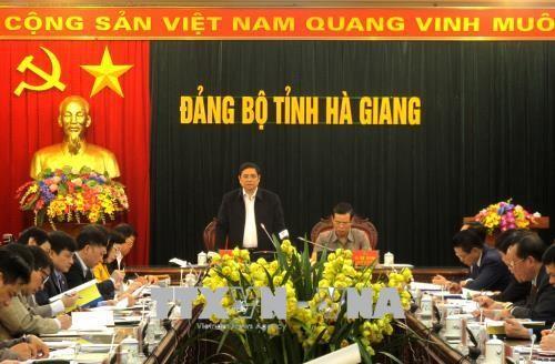 越共中央组织部部长范明正视察河江省 - ảnh 1
