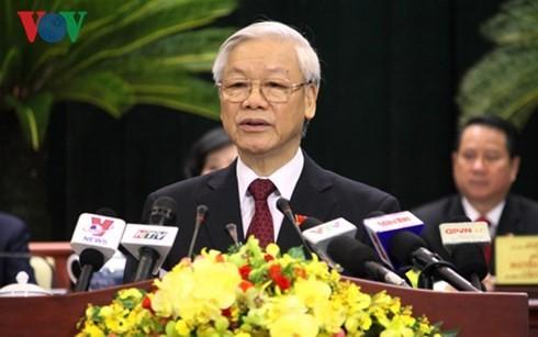 KPV-Generalsekretär Nguyen Phu Trong nimmt an Parteikonferenz von Ho Chi Minh Stadt teil - ảnh 1