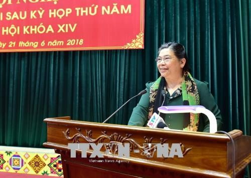 Vizeparlamentspräsidentin Tong Thi Phong trifft Wähler in Son La - ảnh 1