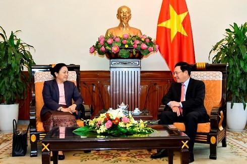 Vizepremier, Außenminister Pham Binh Minh trifft Laos' Vizeaußenministerin - ảnh 1