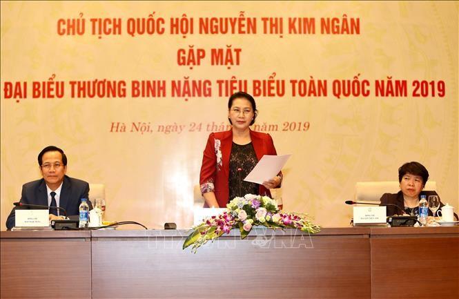 Parlamentspräsidentin Nguyen Thi Kim Ngan empfängt Delegation von Kriegsversehrten - ảnh 1