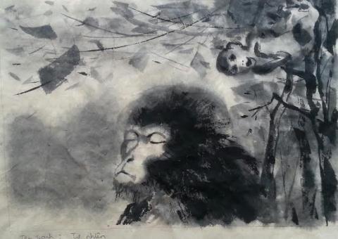 "Pameran 25 lukisan tentang ""Monyet"" untuk menyongsong Hari Raya Tet - ảnh 1"