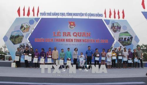 Pengurus Besar Liga Pemuda Komunis Ho Chi Minh mengadakan acara pemberangkatan pasukan Pemuda Relawan Musim Panas tahun 2018 - ảnh 1