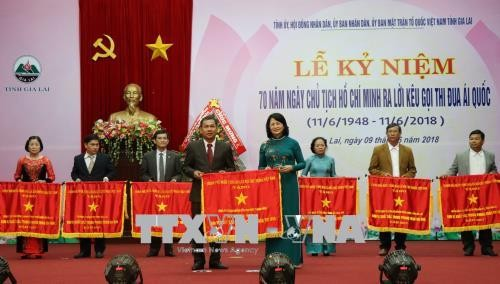 Wapres Vietnam, Dang Thi Ngoc Thinh menghadiri acara peringatan ultah ke-70 Hari Presiden Ho Chi Minh mengeluarkan seruan kompetisi patrotik di Provinsi Gia Lai - ảnh 1