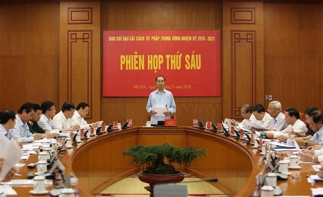 Presiden Viet Nam, Tran Dai Quang memimpin Sidang ke-6 Badan Pengarahan Pusat urusan reformasi hukum - ảnh 1
