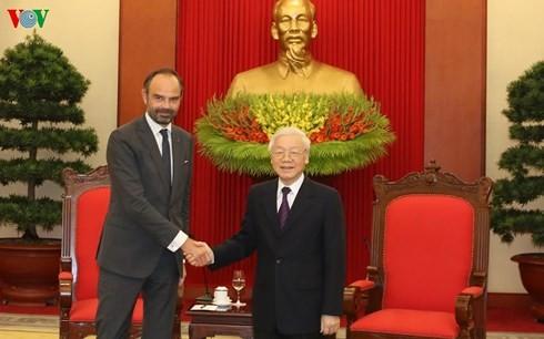 Sekjen KS PKV, Presiden Viet Nam, Nguyen Phu Trong menerima PM Perancis, Edouard Philippe - ảnh 1