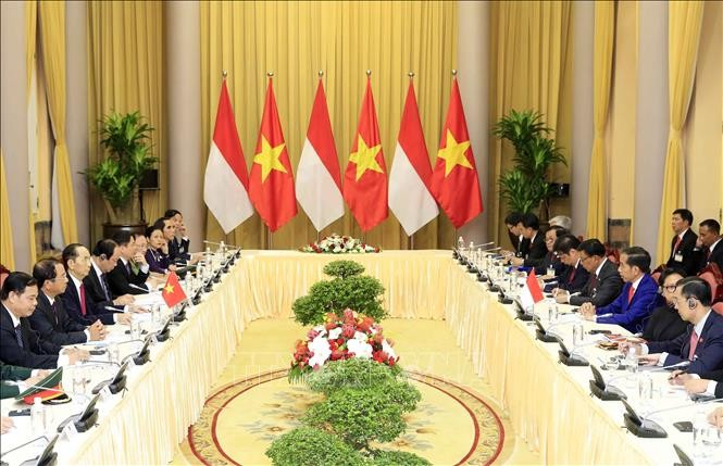 Чан Дай Куанг председательствовал на церемонии встречи президента Индонезии Джоко Видодо - ảnh 1