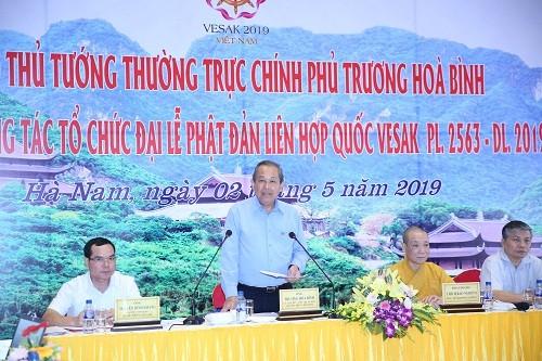 Вице-премьер Чыонг Хоа Бинь проверил ход подготовки к Великому буддийскому празднику Весак ООН - ảnh 1