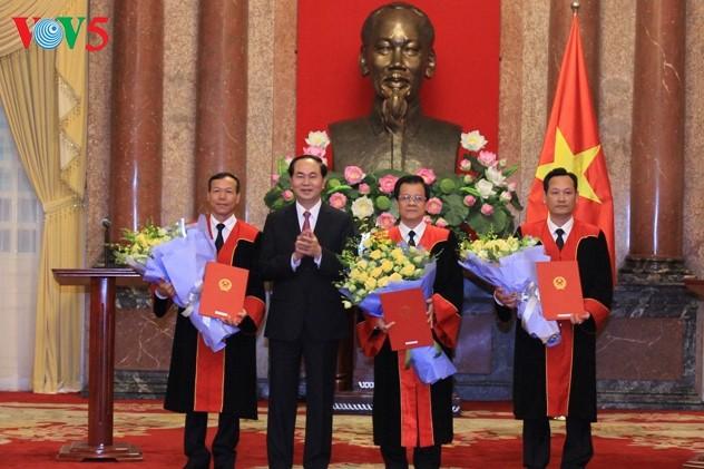 Chủ tịch nước Trần Đại Quang trao Quyết định bổ nhiệm Thẩm phán Tòa án nhân dân tối cao - ảnh 1