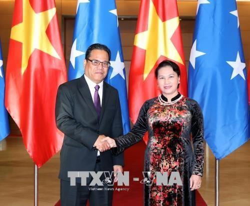 Chủ tịch Quốc hội Nguyễn Thị Kim Ngân đón, hội đàm với Chủ tịch Quốc hội Liên bang Micronesia Wesley - ảnh 1