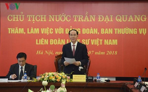 Chủ tịch nước Trần Đại Quang làm việc với Liên đoàn Luật sư Việt Nam - ảnh 1