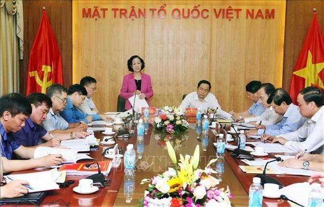 Trưởng ban Dân vận Trung ương Trương Thị Mai làm việc với Trung ương Mặt trận tổ quốc Việt Nam - ảnh 1
