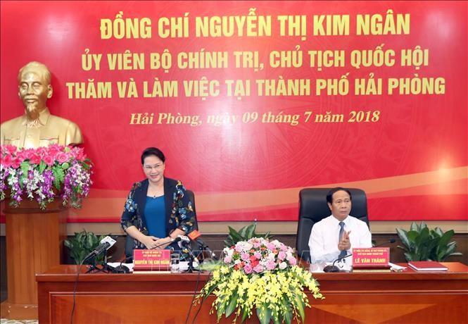 Ketua MN Nguyen Thi Kim Ngan melakukan temu kerja di Kota Hai Phong - ảnh 1
