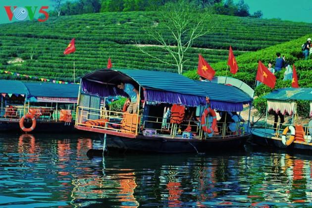 Pulau teh Thanh Chuong menyerap kedatangan wisatawan sehubungan dengan Hari Raya Tet - ảnh 13