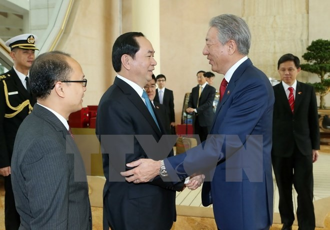 President Tran Dai Quang concludes State visit to Singapore  - ảnh 2