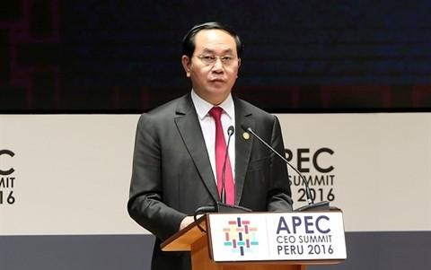 President Tran Dai Quang calls for ideas for APEC Year 2017  - ảnh 1