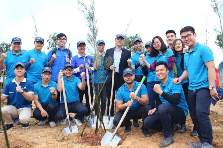 Vietnam Airlines, Youth Union jointly plant 11,000 trees in Quang Ninh - ảnh 3