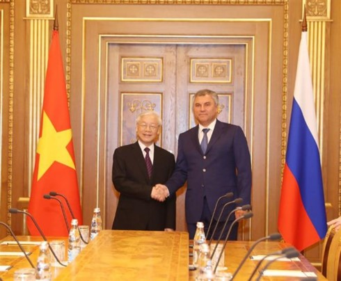 Party leader meets Russia's Federal Assembly leaders  - ảnh 2