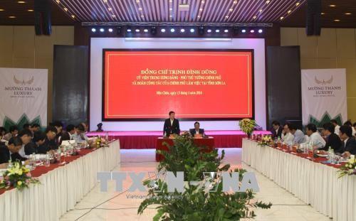 越南政府副总理郑庭勇视察山萝省 - ảnh 1