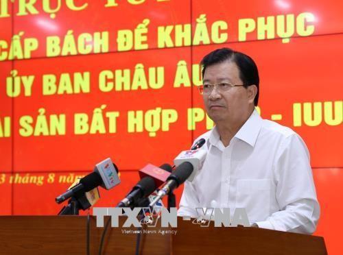 越南政府副总理郑庭勇:为解除对越南水产的黄牌警告要采取配套措施 - ảnh 1