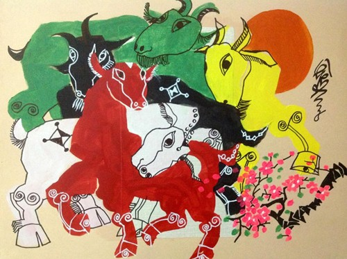 The Goat in paintings by Le Tri Dung - ảnh 2