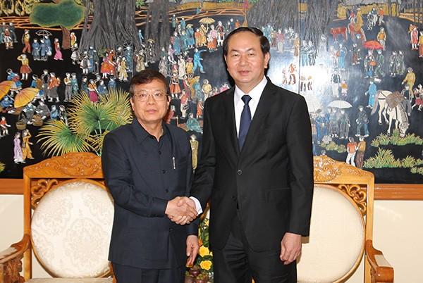 Bộ trưởng Bộ Công an Trần Đại Quang tiếp Đoàn đại biểu Bộ Nội vụ Vương quốc Campuchia  - ảnh 1