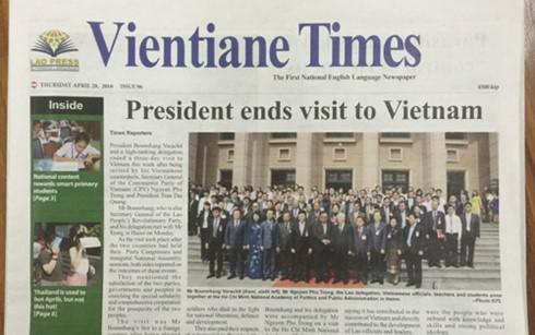 Báo chí Lào đưa tin đậm nét về chuyến thăm và làm việc tại VN của Tổng Bí thư Bounnhang Volachith - ảnh 1