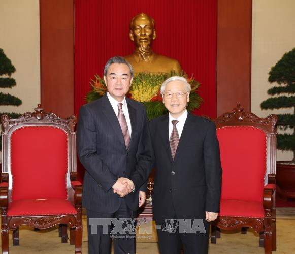 Tổng Bí thư Nguyễn Phú Trọng và Thủ tướng Nguyễn Xuân Phúc  tiếp Bộ trưởng Ngoại giao Trung Quốc - ảnh 1