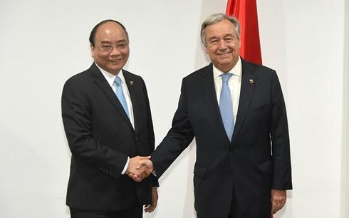 Thủ tướng Nguyễn Xuân Phúc gặp Tổng Thư ký LHQ và Chủ tịch Hội đồng châu Âu EU - ảnh 1