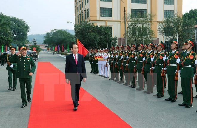Chủ tịch nước Trần Đại Quang thăm lực lượng vũ trang Quân khu 1 - ảnh 1
