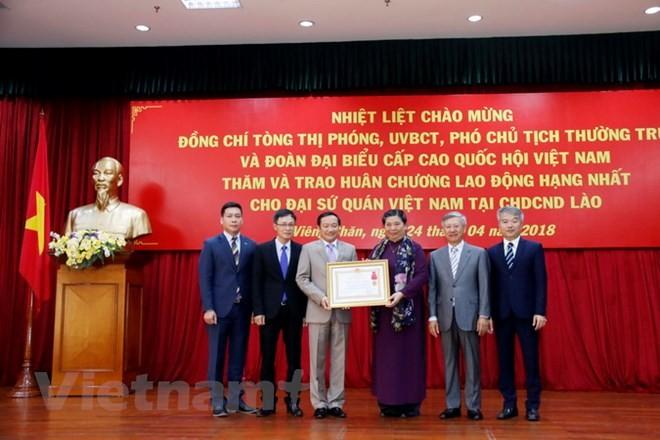 Lãnh đạo Đảng, Chính phủ Lào tiếp đoàn đại biểu cấp cao Quốc hội Việt Nam - ảnh 1