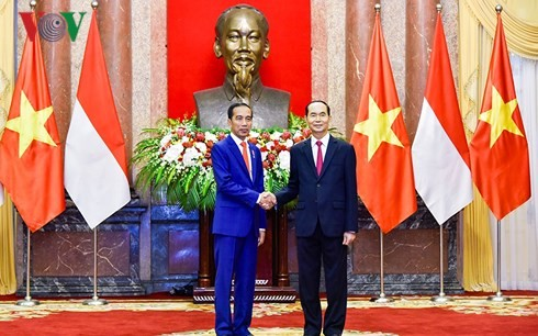 Chủ tịch nước Trần Đại Quang và Phu nhân chiêu đãi trọng thể Tổng thống Cộng hòa Indonesia và Phu nhân - ảnh 1