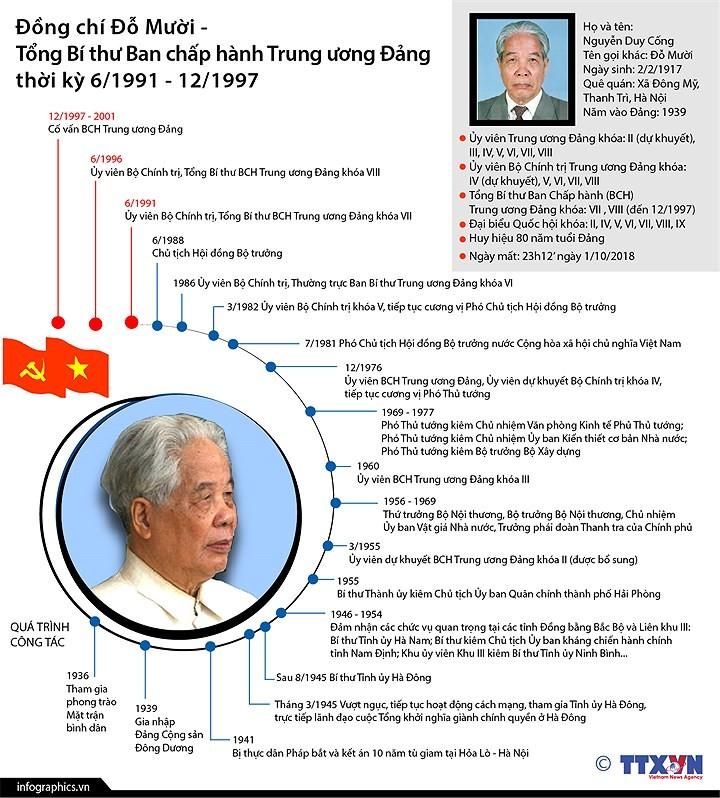Quá trình công tác của nguyên Tổng Bí thư Đỗ Mười - ảnh 1