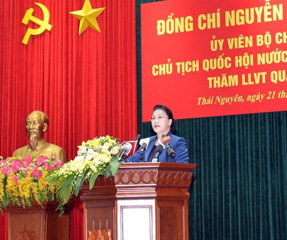 Chủ tịch Quốc hội Nguyễn Thị Kim Ngân thăm Bộ Tư lệnh Quân khu I  - ảnh 1