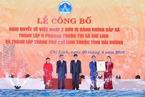 Chủ tịch Quốc hội dự lễ công bố Nghị quyết thành lập thành phố Chí Linh, tỉnh Hải Dương - ảnh 1