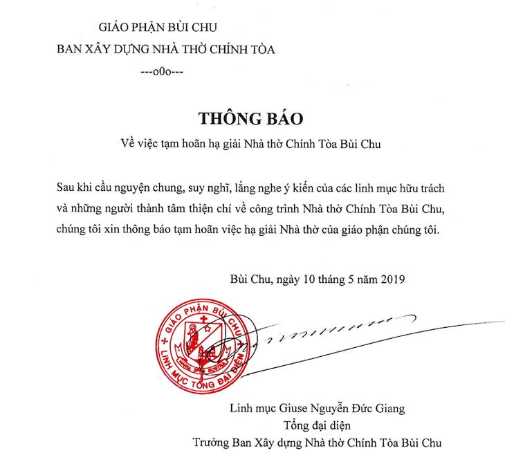 Tạm hoãn hạ giải nhà thờ chính tòa Bùi Chu, Nam Định  - ảnh 2
