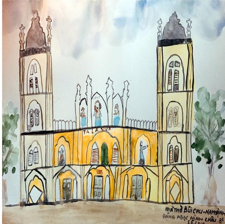 Giáo dân Bùi Chu 'phát hiện' nhà thờ của mình lộng lẫy trên... ký họa - ảnh 19