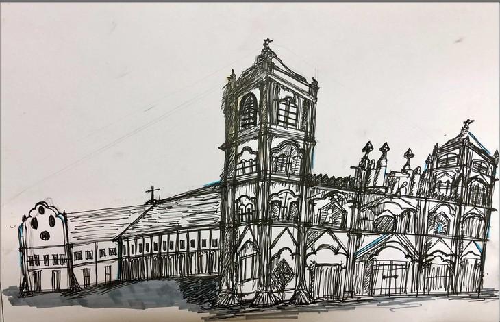 Giáo dân Bùi Chu 'phát hiện' nhà thờ của mình lộng lẫy trên... ký họa - ảnh 18