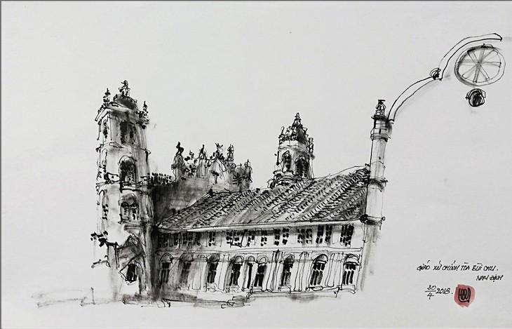 Giáo dân Bùi Chu 'phát hiện' nhà thờ của mình lộng lẫy trên... ký họa - ảnh 7