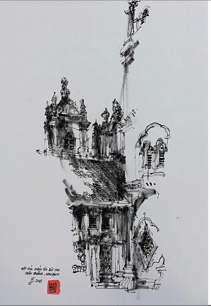 Giáo dân Bùi Chu 'phát hiện' nhà thờ của mình lộng lẫy trên... ký họa - ảnh 8