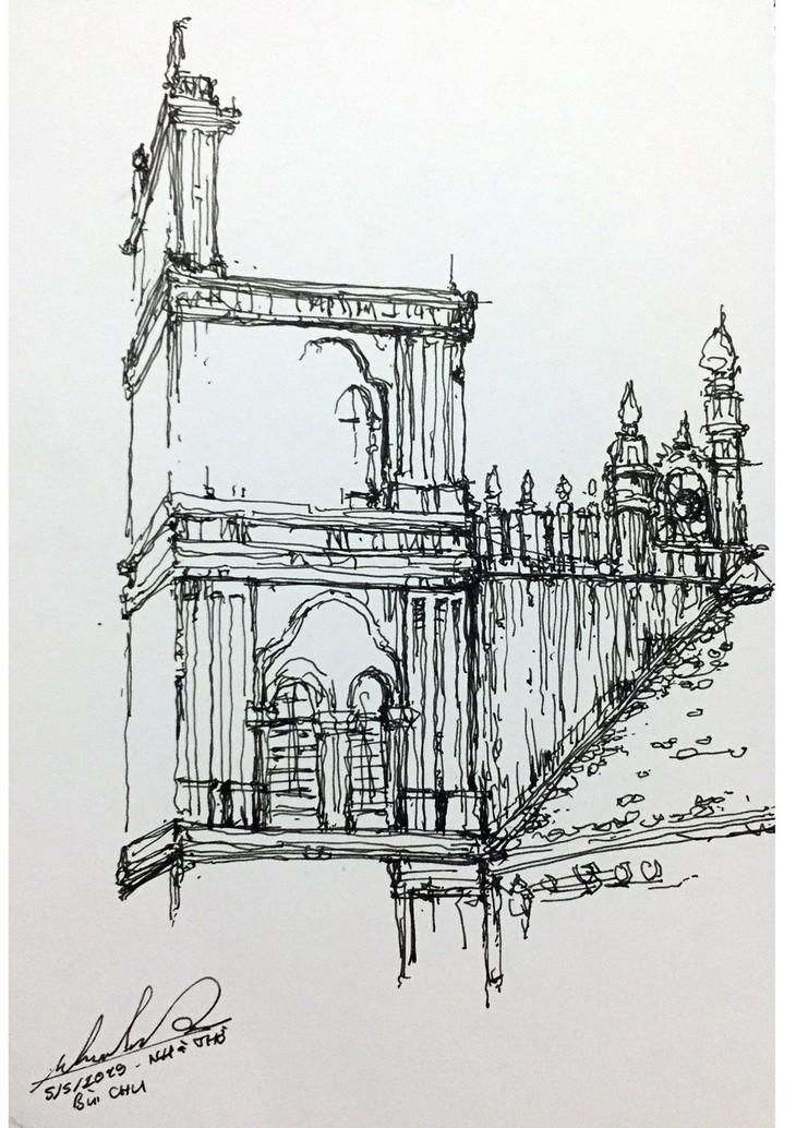 Giáo dân Bùi Chu 'phát hiện' nhà thờ của mình lộng lẫy trên... ký họa - ảnh 11