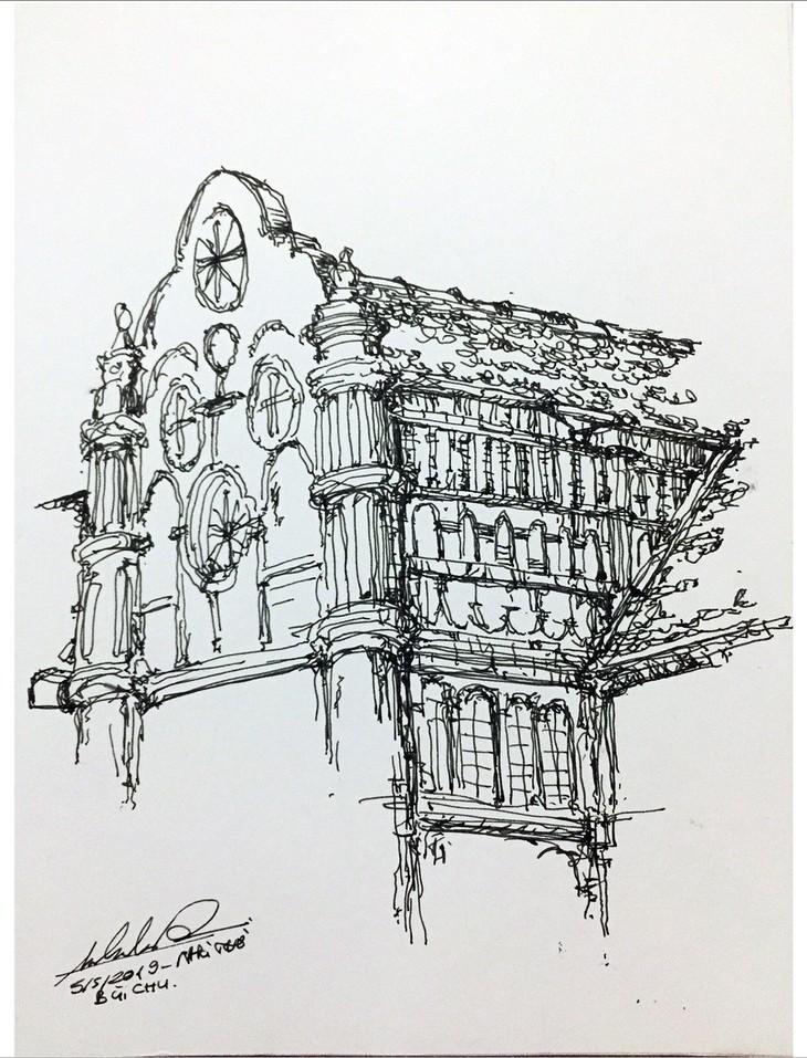 Giáo dân Bùi Chu 'phát hiện' nhà thờ của mình lộng lẫy trên... ký họa - ảnh 12